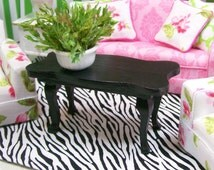 Black Wood Coffee Table Wooden Furniture 1:12 Dollhouse Miniature Artisan