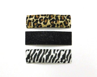 SALE Animal Print and Glitter Snap Clips