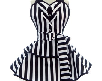 Retro Apron - Black & White Striped - It's Showtime - Sexy Womans Apron - Vintage Apron Style - Undead - Pin up Cosplay Full Womens Apron