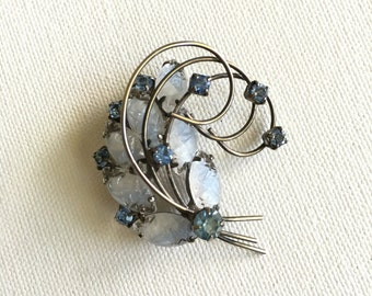 Vintage Blue and Milky Carved Rhinestone Silvertone Brooch