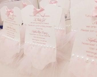 Deposit for Ballerina baby shower invitation - tutu invitation - Tutu baby shower invitation