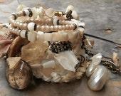 Summer Breeze Pearl Seahorse Citrine Bone BOHO Rosary Wrap Bracelet