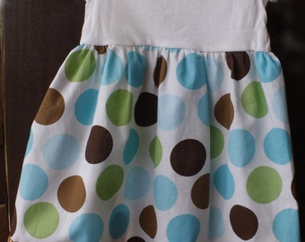 Polka dot short sleeve dress, retro,white,brown,turquoise