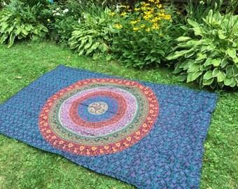 Stake Down Picnic Blanket, , Blue, Magenta, Orange Boho Tapestry