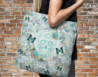 "Sugar Skull Tote Bag Over Sized 18"" x 18""  Teal Butterfly Garden"