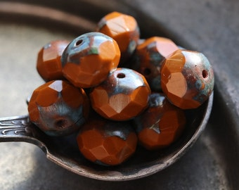 RUST .. 10 Premium Picasso Czech Glass Rondelle Beads 6x8-9mm (4845-10)