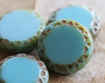 sale .. BLUE SUN .. 4 Premium Picasso Czech Chunky Coin Beads 16mm (4751-4)