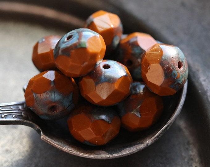 RUST .. 10 Premium Picasso Czech Glass Rondelle Beads 6x8-9mm (4845-10)