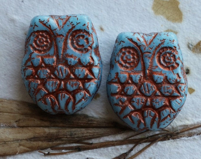 SKY HOO HOO .. 2 Premium Picasso Czech Glass Owl Beads 18x15mm (4796-2)