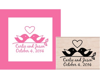 Save The Date Birds on a Branch Rubber Stamp