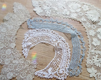 collection of handmade lace collarsRESERVED eda