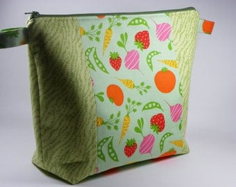 Fruits and Veggies Knitting Project Bag - Large Project Bag - Zippered Project Bag - Crochet Project Bag - Sweater Size Project Bag