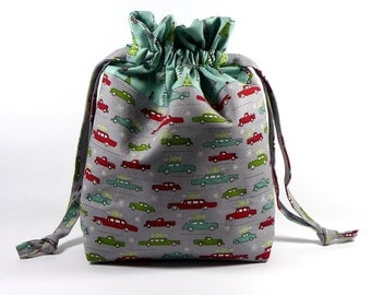 Knitting Project Bag, Christmas Drawstring Knitting Project Bag, Small Knitting Bag, Christmas Project Bag - Sock Sack - Christmas Tree