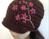 Womens Hat Cherry Blossom Hat Brimmed Beanie Womens Brimmed Hat Cherry Blossom Branch Tree Hat Brown Hat Winter Hat Wool Hat - MADE TO ORDER