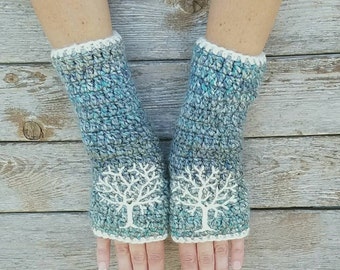 Fingerless Gloves with Tree of Life, Blue, Aqua, Cream, Armwarmers, Women's Gloves, Warm, Embroidered, Hippie, Boho, Bohemian, MADE TO ORDER
