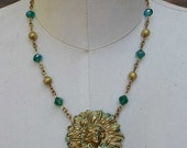 ON SALE Daisy Flower Necklace Art Nouveau Lady Green Bead Vintage Assemblage Jewelry