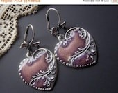 ON SALE Purple Heart Earrings, Silver Heart Earrings, Enamel Earrings, Vintage Style Earrings, Silver Dangle Earrings