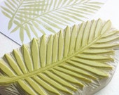 palm leaf hand carved rubber stamp, handmade rubber stamp