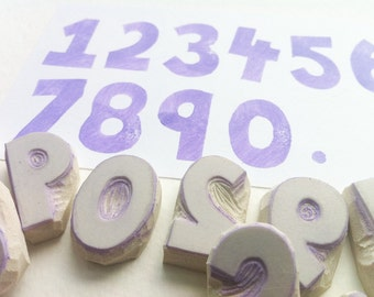 1 inch tall hand carved number stamps, handmade rubber number stamps