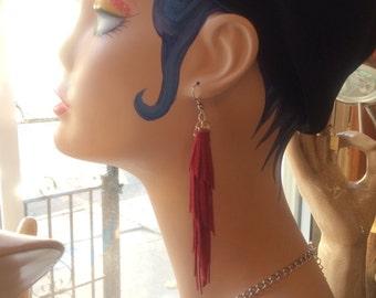 Red Tassel Fringe Leather Earrings