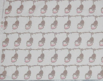 Monkeys in Pink & Grey by Camelot Design Studio Imagination Monkey Fabric By The Yard