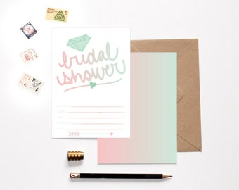 Ombre Bridal Shower Fill In Invitation Recycled Paper Eco Friendly Bridal Shower Invites Wedding Shower Invitations DIY Invitations Arrow