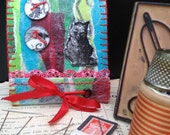 cat needle case, Emily the strange needle book, halloween needles kit,handmade needlebook,needle storage,stocking stuffer, gift under 15, n5