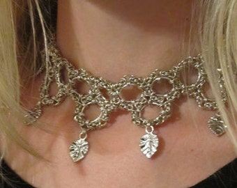OOAK Silver circles choker necklace adorned with silver leaves