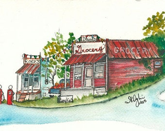 NEW, Old Time Gas and Grocery, 5 x 7, ORIGINAL watercolor, Framed