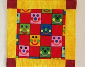 Bright and Smiley Coaster  mug Rug or Mini Quilt 2