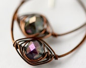 Handmade Oval Hoop Earrings with Herringbone Wrapped Faceted Glass for Fall
