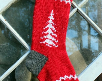 Red Hand Knit Christmas Stocking Tree- Ready to ship!