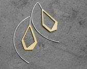 Lanterns - brass earrings , sterling silver earrings, statement earrings, geometric earrings, golden geometric earrings, made in Italy