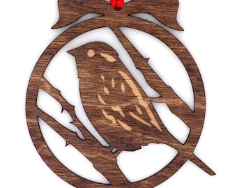 Wooden Chickadee Ornament