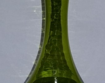 Mid-Century Green Glass Bud Vase with Applied Swirl Stem Foot (N#1)