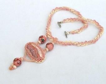 Pink rhodochrosite necklace Beadwork necklace Gemstone necklace Rhodochrosite jewelry Pink jewelry Statement jewelry Made in Israel art N665