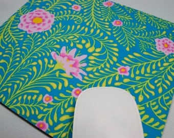 Buy 2 FREE SHIPPING Special!!   Mouse Pad, Fabric Mousepad   Ferns Turquoise