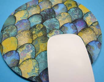 Buy 2 FREE SHIPPING Special!!   Mouse Pad, Fabric Mousepad   Mermaid Tails in Turquoise and Gold