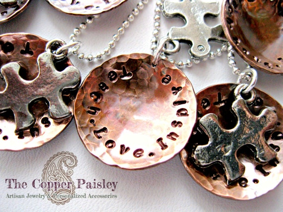 Copper Autism Awareness Puzzle Piece Charm Necklace - made to order