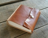 Small Tan Leather Travel Journal, Handmade Blank Brown Leather Journal Snap Closure, Tiny Rustic Tan Sketchbook, Small Leather Art Journal