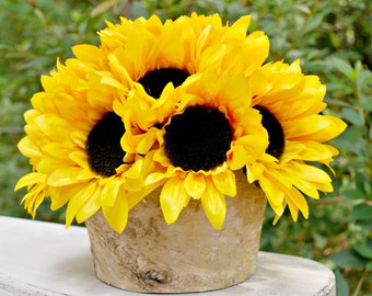 DIY Kit Sunflower Centerpiece in Birch Bark Pot - Sunflower Wedding - Flower Arrangement - Centerpiece - Artificial Sunflowers