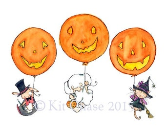 Pumpkin Balloons -- Trick or Treat -- Art Print  a witch, a ghost, and a magician by trafalgarssquare