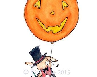 Halloween Art Print -- Bunny Magician and Jack-o-Lantern -- Art Print