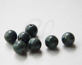25pcs Czech Pressed Glass Druk Round-Trans. Dark Blue Travertine 10mm (PG5103006)