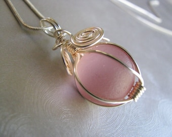 Rare Pink Sea Glass Marble Pendant - Sea Glass Pendant - Beach Glass Jewelry