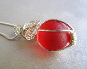 Rare Red Sea Glass Marble Pendant - Sea Glass Pendant - Beach Glass Jewelry