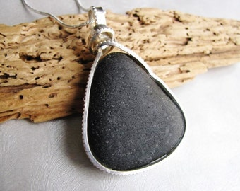 Rare Black Seaglass Necklace - Showstopper Large Bezeled Necklace  - Beach Glass Necklace