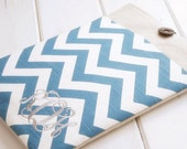 Monogrammed Personalized Ipad Sleeve|Ipad Pro Case|Tablet Cases and Accessories|iPad Air Case|iPad Mini Case in Teal Blue Chevron and Linen