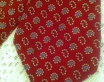Men's 1930's 1940's Wide Swing Necktie . 30s 40s Cravats Red and Blue Paisley Tie . 49 Inch Long 4 Inch Wide