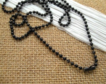Black Stainless Steel 2.4mm  Ball Chain from Tierracast  - 30 Inches with One Clasp
